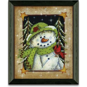 'Feathered Friend Winter and Holiday' Framed Graphic Art