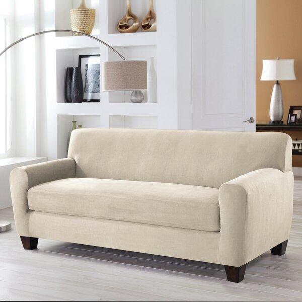 Serta® Stretch Fit Box Cushion Sofa Slipcover By Serta New
