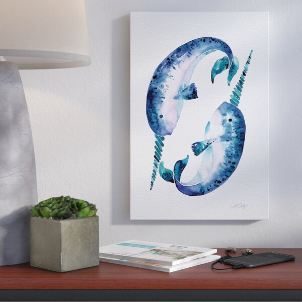 Blue Narwhals Artprint Graphic Art on Wrapped Canvas by Brayden Studio
