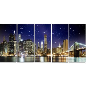 Night Colors over Brooklyn Bridge 5 Piece Wall Art on Wrapped Canvas Set by Design Art