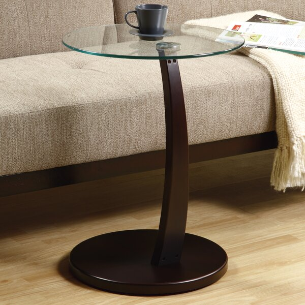 Bentwood Tempered Glass End Table by Monarch Specialties Inc.