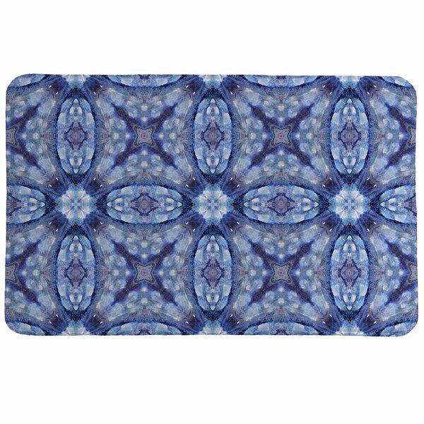 Mystery Blue Foam Rectangle Memory Foam Non-Slip Geometric Bath Rug