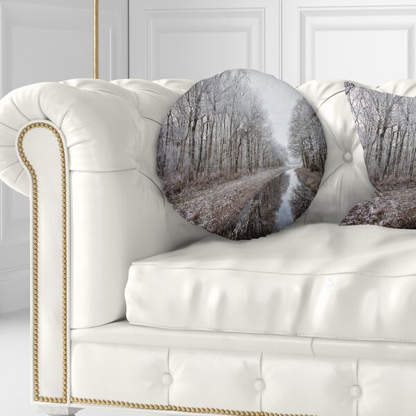 Landscape Trees in Winter Throw Pillow by East Urban Home