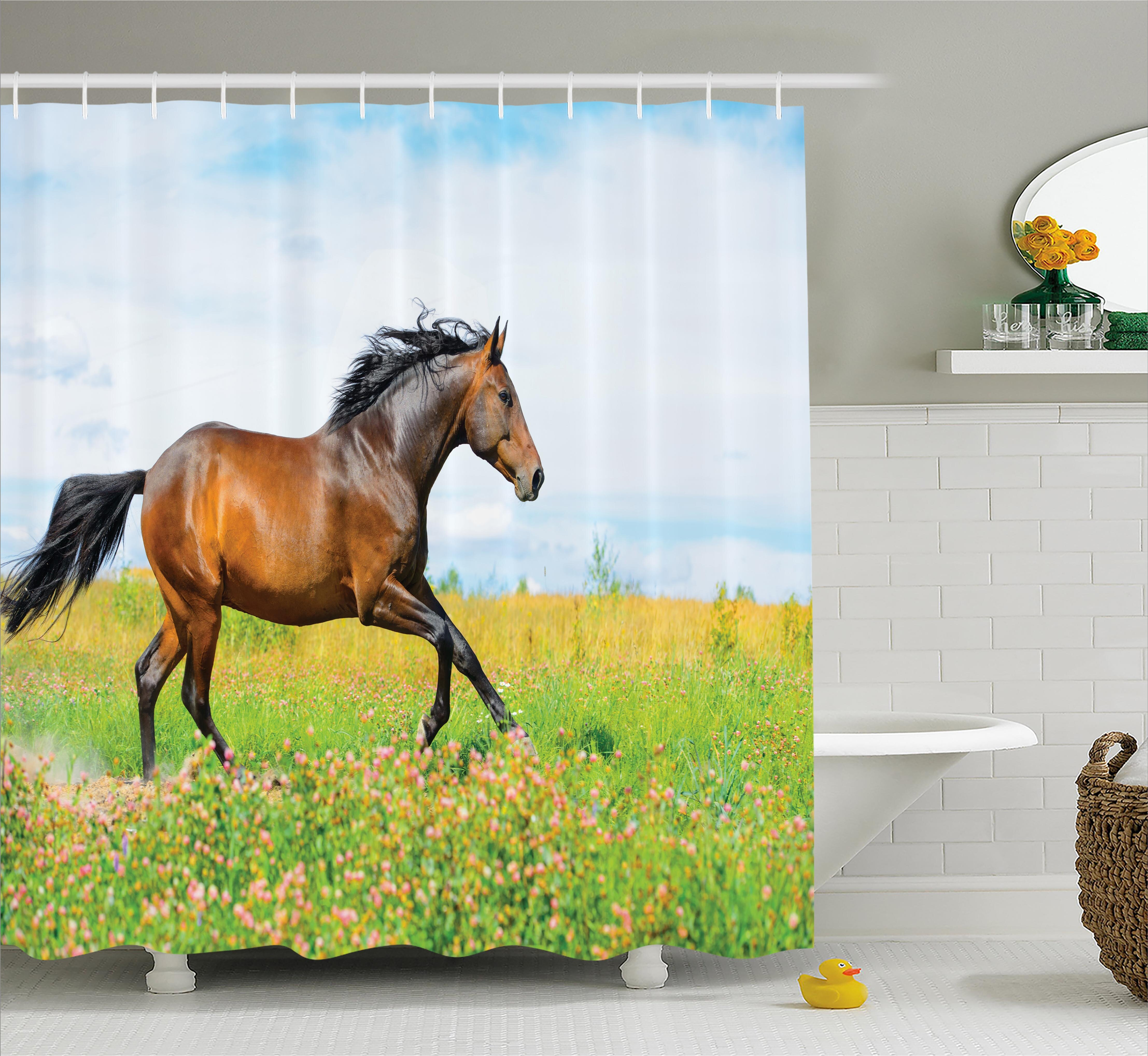 Ebern Designs Hamilton Horse Rural Flowers Shower Curtain
