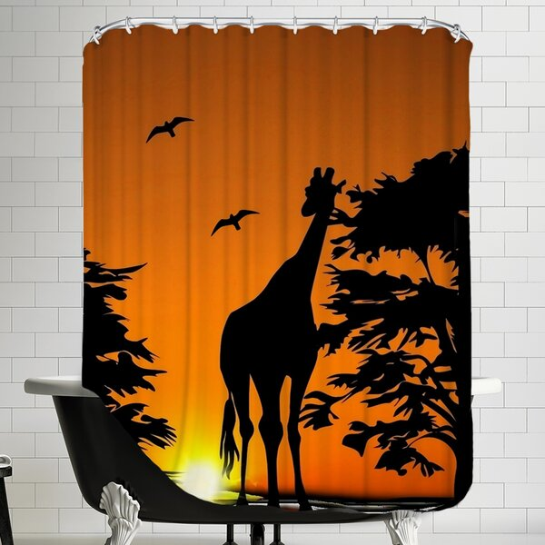 Giraffe with Sunset Shower Curtain by East Urban Home