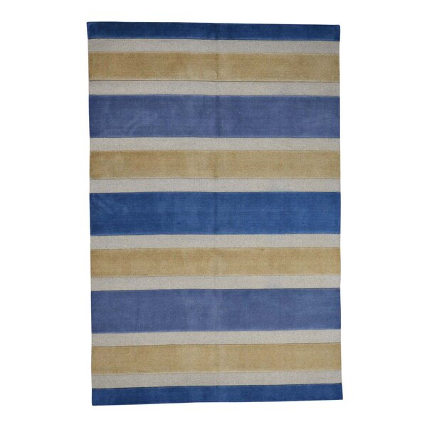 One-of-a-Kind Ferriera Oriental Hand-Knotted Blue Area Rug by Latitude Run