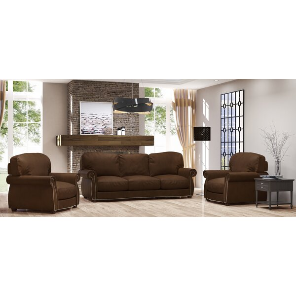 Tiffany 3 Piece Leather Living Room Set