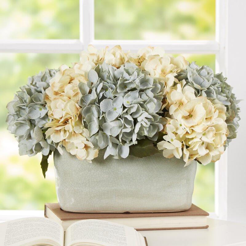 Beachcrest Home Hydrangea Centerpiece in Planter & Reviews | Wayfair