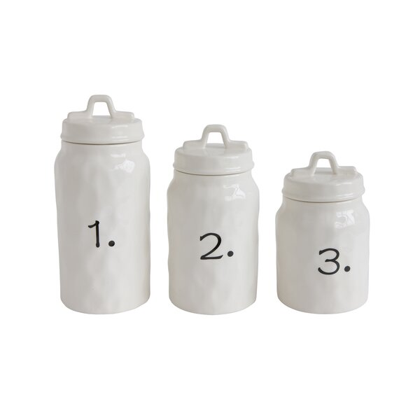 Ceramic Canister Numbers 3 Piece Kitchen Canister Set by Gracie Oaks