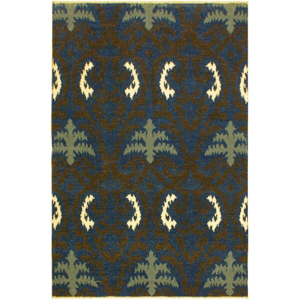One-of-a-Kind Lunsford Hand Knotted Wool Blue/Green Area Rug by World Menagerie