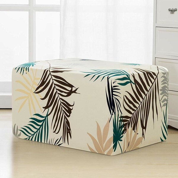 Leaves Printed Storage Rectangle Ottoman Slipcover by subrtex