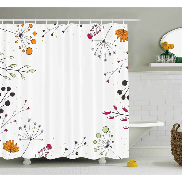 Prussia Geometric Flowers Floral Shower Curtain by Red Barrel Studio