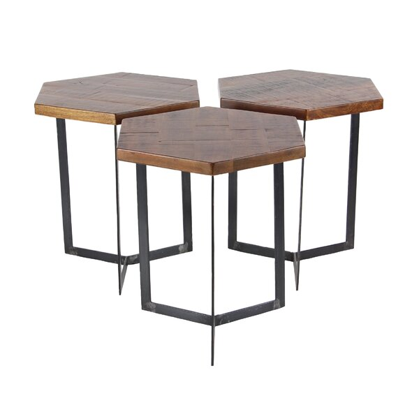 Wales Contemporary 3 Piece Hexagonal Bunching Coffee Table Set by Union Rustic