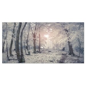 'Winter Sunrise in Mountain Forest' Photographic Print on Wrapped Canvas by Design Art