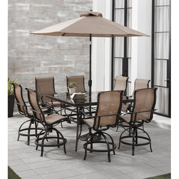 Carlee 9 Piece Counter Height Outdoor Dining Set with Umbrella by Fleur De Lis Living