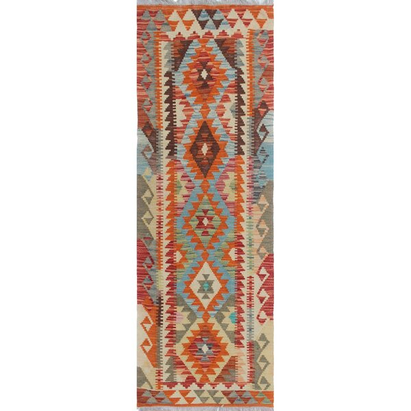 One-of-a-Kind Applewhite Hand-Woven Wool Rust/Beige Area Rug by Isabelline