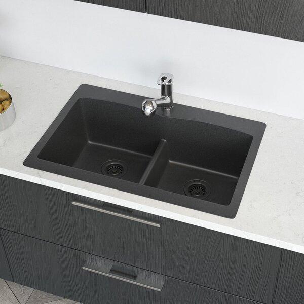 Granite 33 L x 22 W Double Basin Drop-In Kitchen Sink with Strainer by René By Elkay
