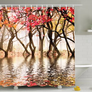 Best Reviews Milsom Reflection of Spring Print Shower Curtain By August Grove