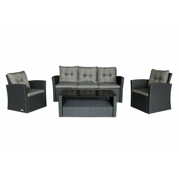 Palmeri Outdoor 4 Piece Sofa Seating Group with Cushions by Canora Grey