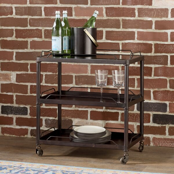 Armie Mirrored Tray Top Metal Bar Cart by Trent Austin Design