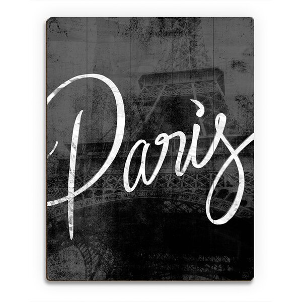 Wood Slats Urban Paris Typography Graphic Art on Plaque by Click Wall Art