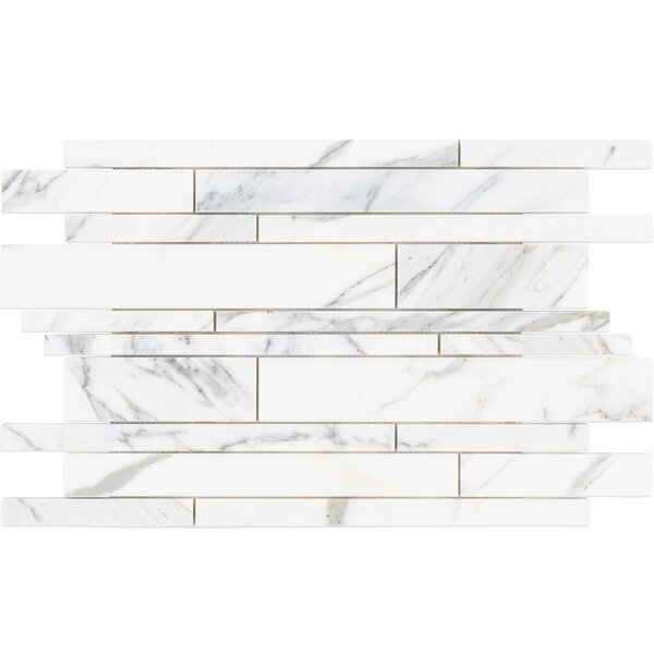 Random Sized Marble Mosaic Tile in White/Gray by Splashback Tile