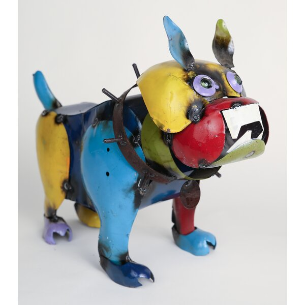 Small Recycled Metal Bulldog Figurine by My Amigos Imports