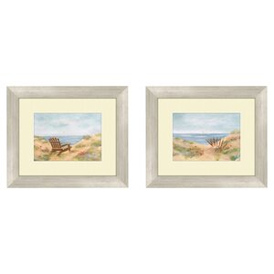 'Coastal By the Sea' 2 Piece Framed Painting Print Set by Highland Dunes