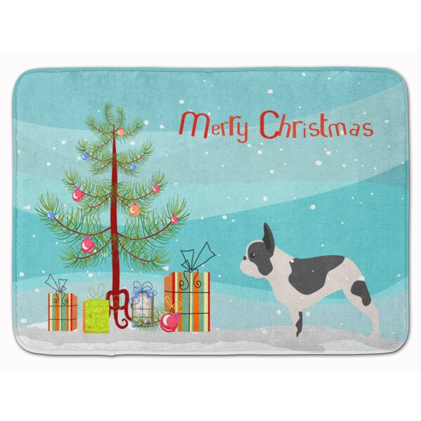 French Bulldog Merry Christmas Tree Rectangle Microfiber Non-Slip Bath Rug