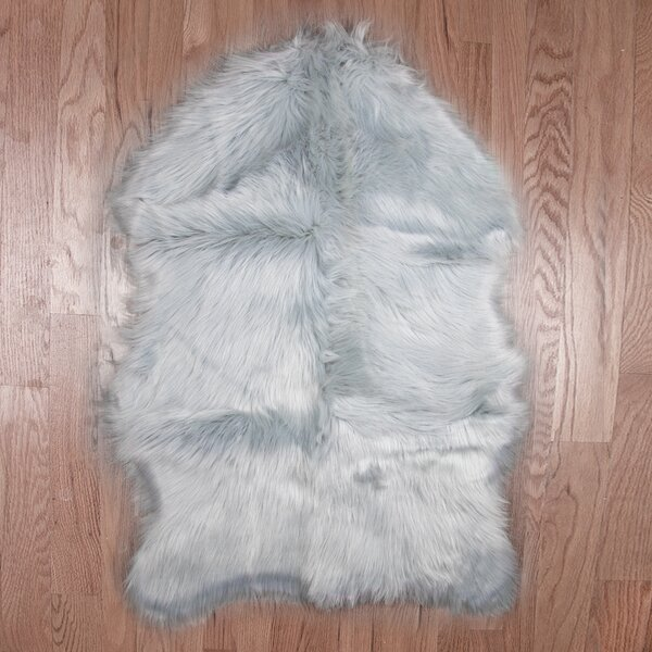 Eidson Super Soft Sheepskin Silver Area Rug by Ebern Designs