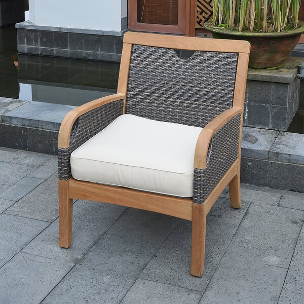Mansfield Teak Patio Chair with Cushions by Bayou Breeze