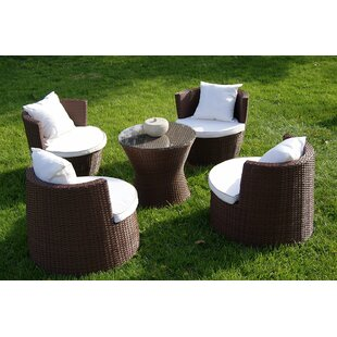 Geo Vase 5 Piece Sunbrella Conversational Set with Cushions By Deeco
