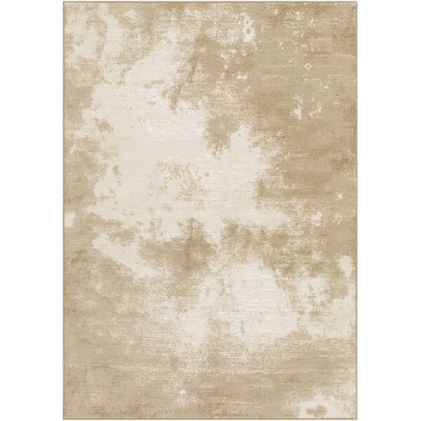Shenk Abstract Beige/Ivory Area Rug by Bungalow Rose