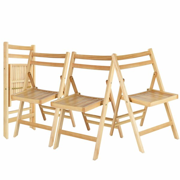Wood Folding Chair (Set of 4) by Costway