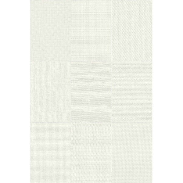Makar Italian 4.75 x 7 Ceramic Fabric Look/Field Tile in White by The Bella Collection