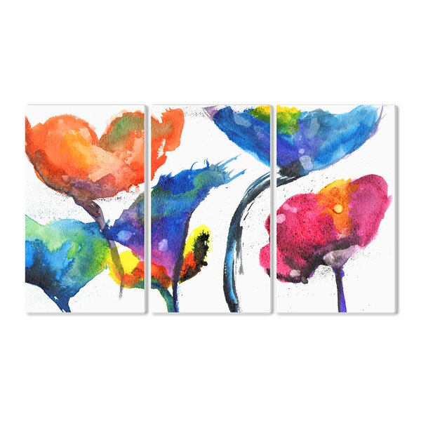 Painted Look Rainbow Poppy Flowers 3 Piece Painting Print Wall Plaque Set by Stupell Industries