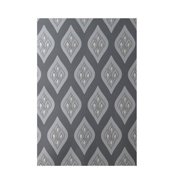 Floral Dark Gray Indoor/Outdoor Area Rug by e by design