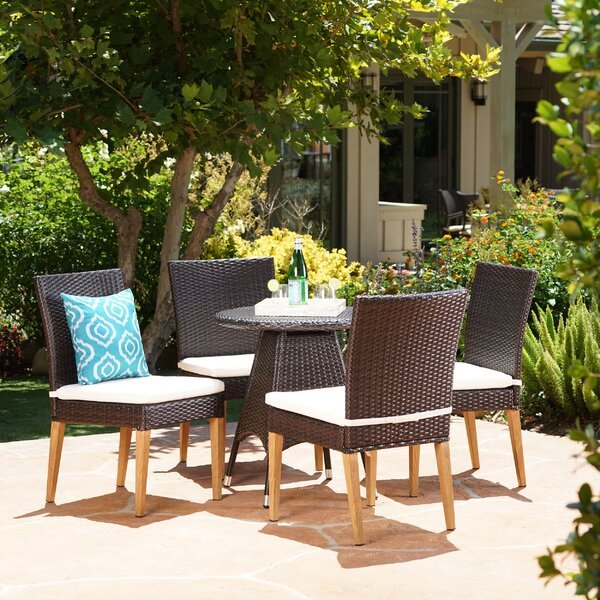 Saurabh Modern Outdoor 5 Piece Dining Set with Cushions by Latitude Run