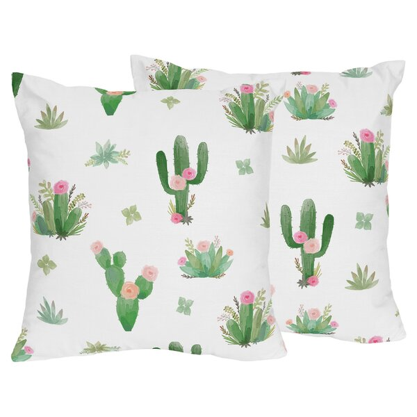 Cactus Floral Indoor Throw Pillow (Set of 2) by Sweet Jojo Designs
