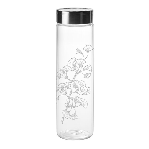Millikin Ginkgo Biloba Sleek 18 oz. Glass Water Bottle by Bloomsbury Market