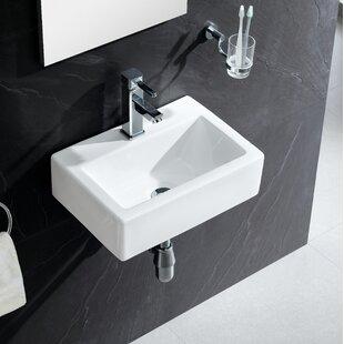 Modern Ceramic 17 Wall Mount Bathroom Sink