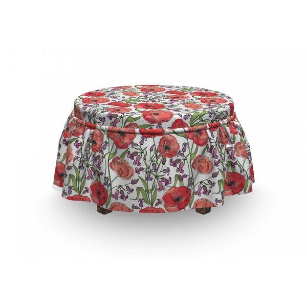 Poppy Blossoms Garden Ottoman Slipcover (Set Of 2) By East Urban Home