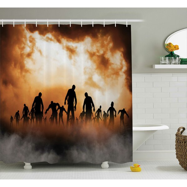 Halloween Decor Zombies Misty Shower Curtain by The Holiday Aisle