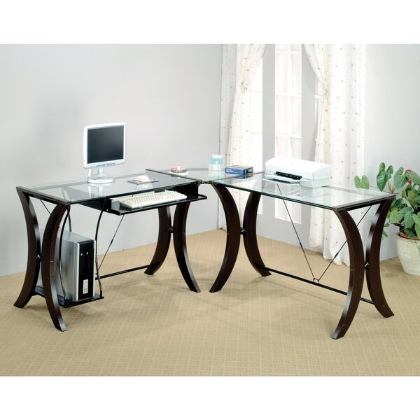Bratches Sophisticated Computer Desk with Glass Top by Ebern Designs