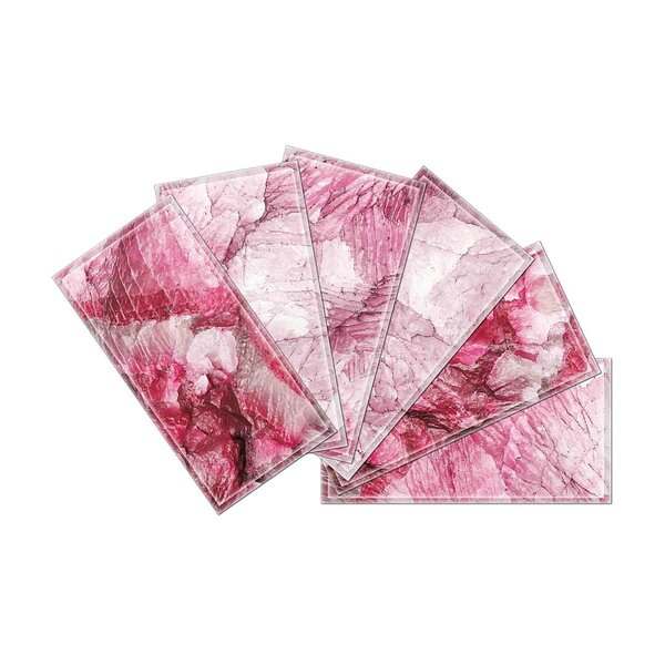 Crystal 3 x 6 Beveled Glass Subway Tile in Pink by Upscale Designs by EMA