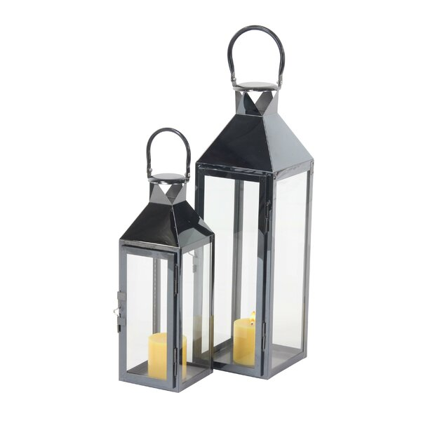 Modern Rectangular Tower Frame 2 Piece Lantern Set by Wade Logan