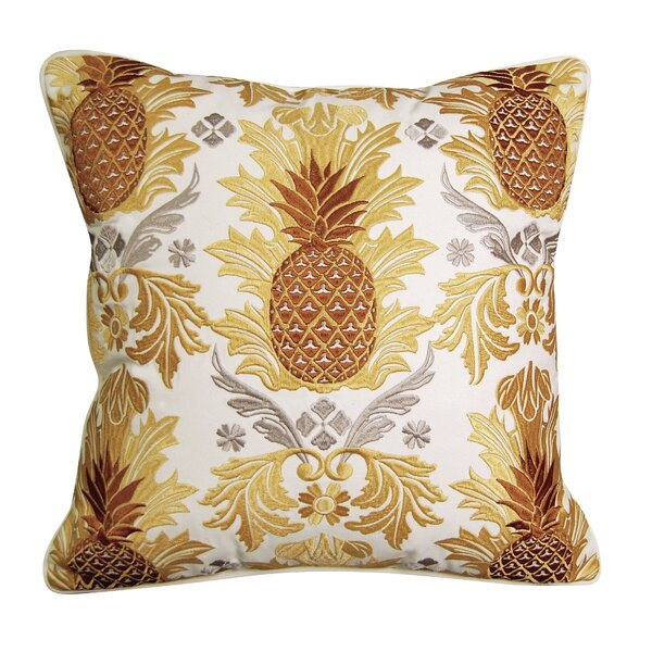 Pineapple Embroidered Indoor Outdoor Throw Pillow by Rightside Design