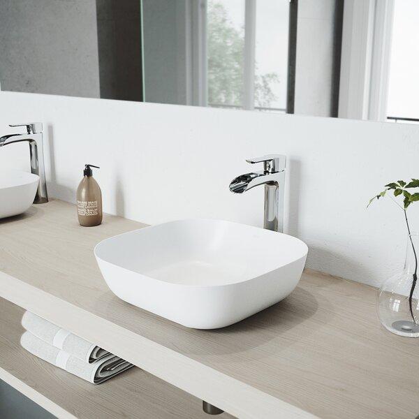 VIGO Matte Stone Square Vessel Bathroom Sink with Faucet by VIGO