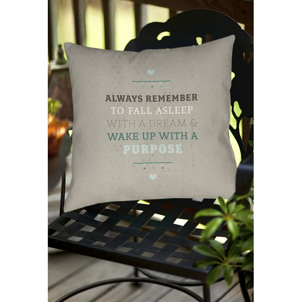 Purposeful Dream Indoor/Outdoor Throw Pillow by Manual Woodworkers & Weavers