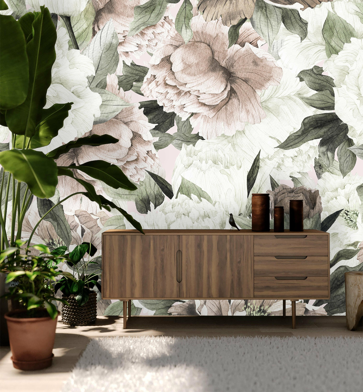 House Of Hampton Hampton Removable Vintage Bouquet Peonies 10 L X